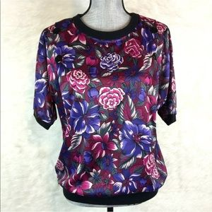 Vintage 80s 90s Floral Blouse Shirt Casual Stretch